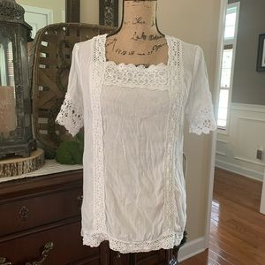 New Directions White Embroidered Eyelet Blouse S